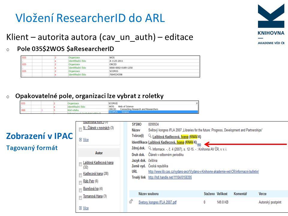 ResearcherID v Analytikách ASEP Analytika - Bibliografie autorů - autor musí mít v klientovi vyplněné pole 035 v autoritním záznamu