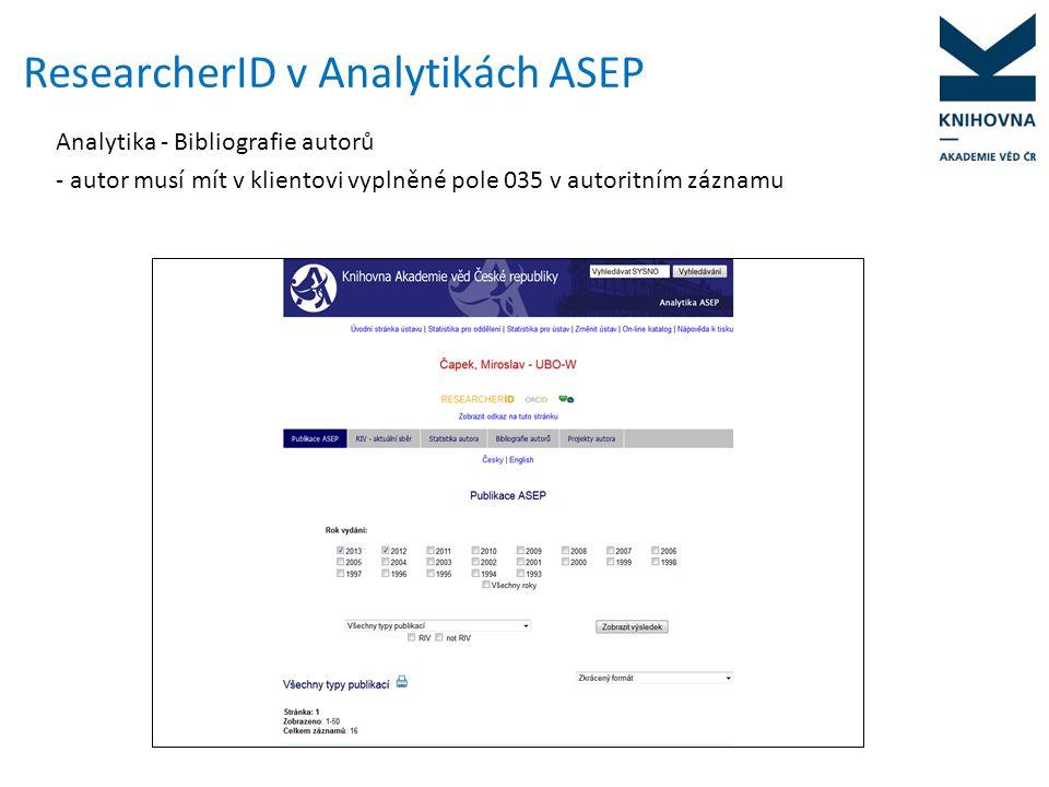 """Import publikací z WOS do ResearcherID -po vyhledání přesuneme publikace pomocí volby """"I wrote these Publications do účtu RID -1x týdně se k záznamu dotáhnou citace z WOS -publikace lze také importovat přímo z účtu ResearcherID (neposkytuje tolik možností při vyhledávání publikací jako rozhraní WOS)"""