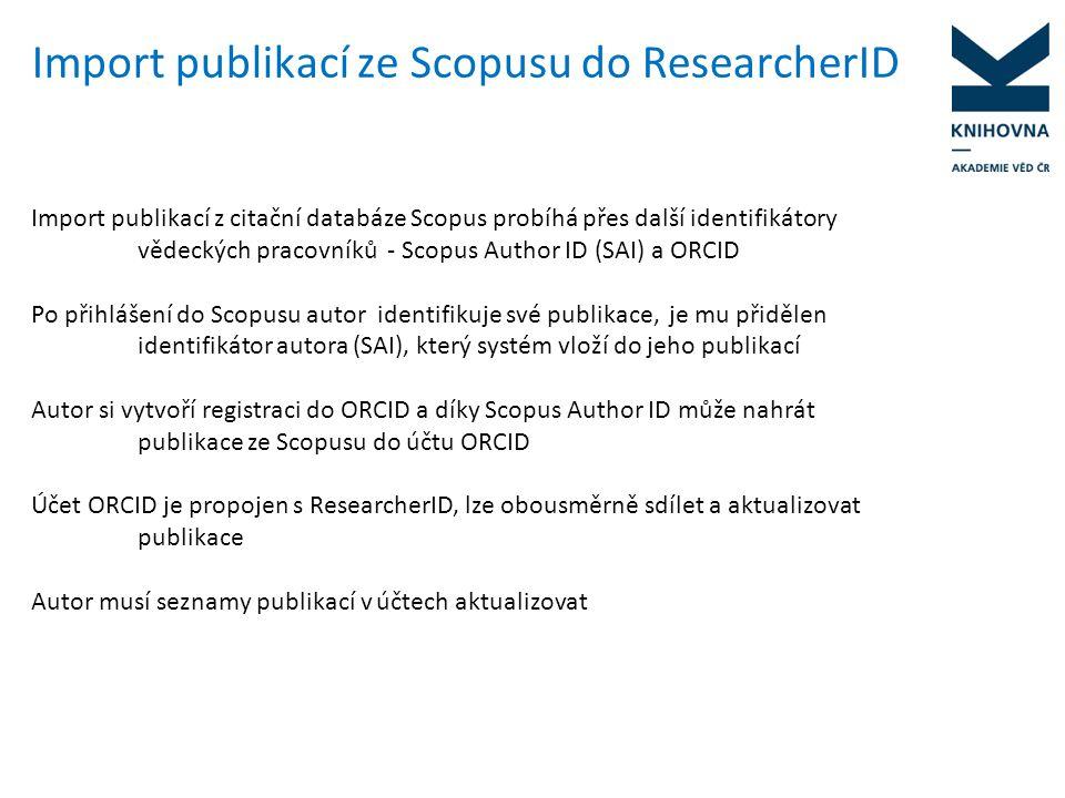ORCID (Open Researcher and Contributor ID) Trvalý digitální identifikátor autora, podporován velkými vydavatelstvími vědecké literatury Registrace na http://www.orcid.orghttp://www.orcid.org Otevřený nekomerční systém, bezplatný přístup, ve vývoji Vytváří propojení mezi různými databázemi, různými vědeckými ID V budoucnu by mohli autoři identifikátor získávat od vydavatelů již během schvalovacího řízení Propojen s Scopus Author Identifier (SAI) – lze importovat publikace z databáze Scopus a dalších databází – ResearcherID, ANDS, CrossRef, Metadata Search, Europe PubMed Central