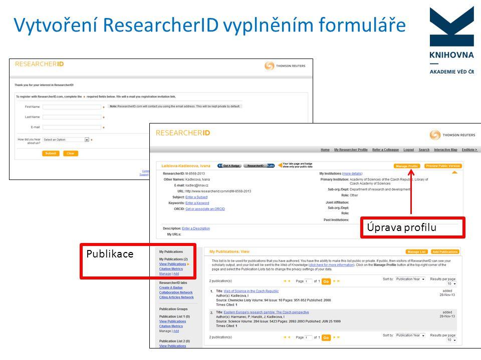 Úprava profilu Záložky: Osobní údaje – lze uvést více variant jmen – např.