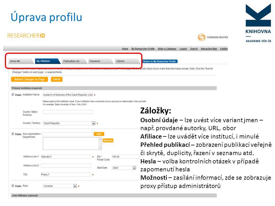 Profil, různé varianty jména Zde je možné uvést jiné formy jména, pod níž vědci publikují – např.