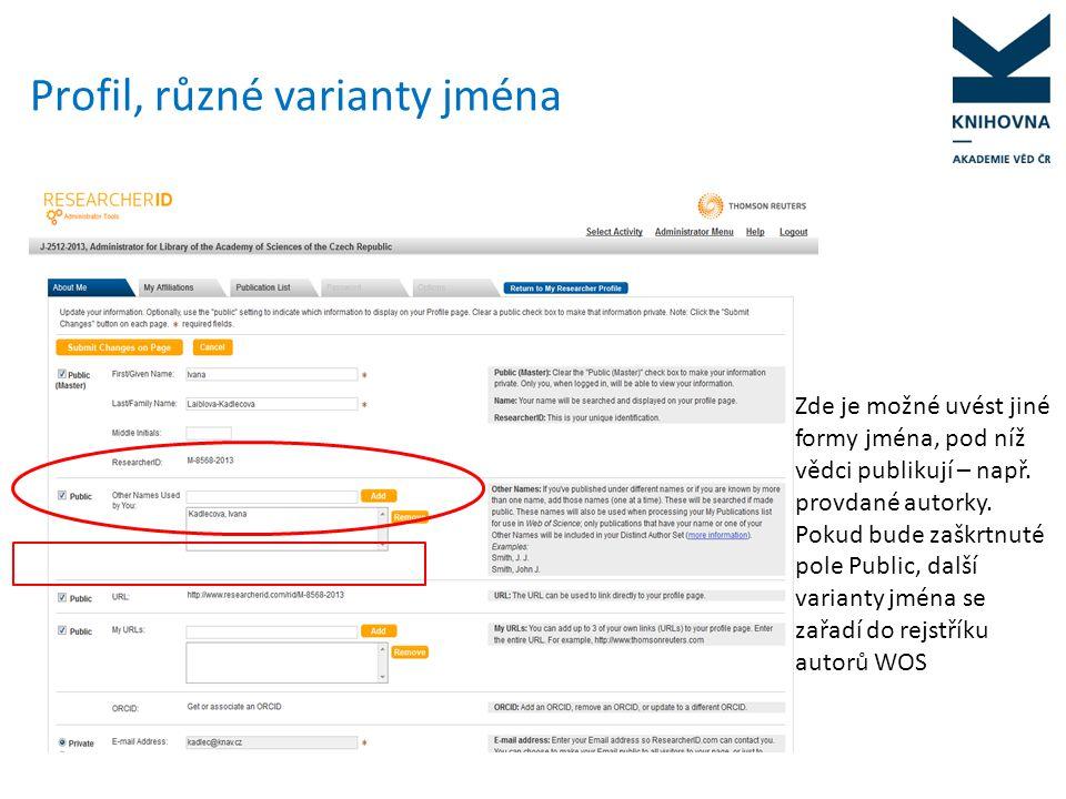 Sjednocení zápisu instituce www.researcherid.comwww.researcherid.com - search