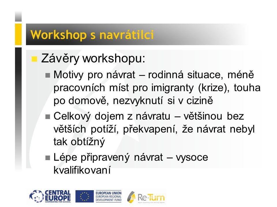  Závěry workshopu: n Motivy pro návrat – rodinná situace, méně pracovních míst pro imigranty (krize), touha po domově, nezvyknutí si v cizině n Celko