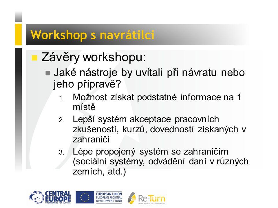  Závěry workshopu: n Jaké nástroje by uvítali při návratu nebo jeho přípravě? 1. Možnost získat podstatné informace na 1 místě 2. Lepší systém akcept