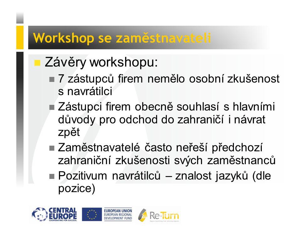  Závěry workshopu: n 7 zástupců firem nemělo osobní zkušenost s navrátilci n Zástupci firem obecně souhlasí s hlavními důvody pro odchod do zahraničí i návrat zpět n Zaměstnavatelé často neřeší předchozí zahraniční zkušenosti svých zaměstnanců n Pozitivum navrátilců – znalost jazyků (dle pozice) Workshop se zaměstnavateli