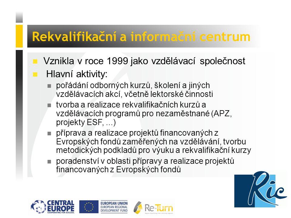  Vznikla v roce 1999 jako vzdělávací společnost  Hlavní aktivity: n pořádání odborných kurzů, školení a jiných vzdělávacích akcí, včetně lektorské činnosti n tvorba a realizace rekvalifikačních kurzů a vzdělávacích programů pro nezaměstnané (APZ, projekty ESF,...) n příprava a realizace projektů financovaných z Evropských fondů zaměřených na vzdělávání, tvorbu metodických podkladů pro výuku a rekvalifikační kurzy n poradenství v oblasti přípravy a realizace projektů financovaných z Evropských fondů Rekvalifikační a informační centrum