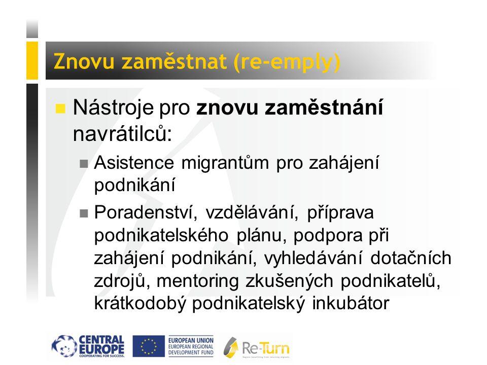  Nástroje pro znovu zaměstnání navrátilců: n Asistence migrantům pro zahájení podnikání n Poradenství, vzdělávání, příprava podnikatelského plánu, po