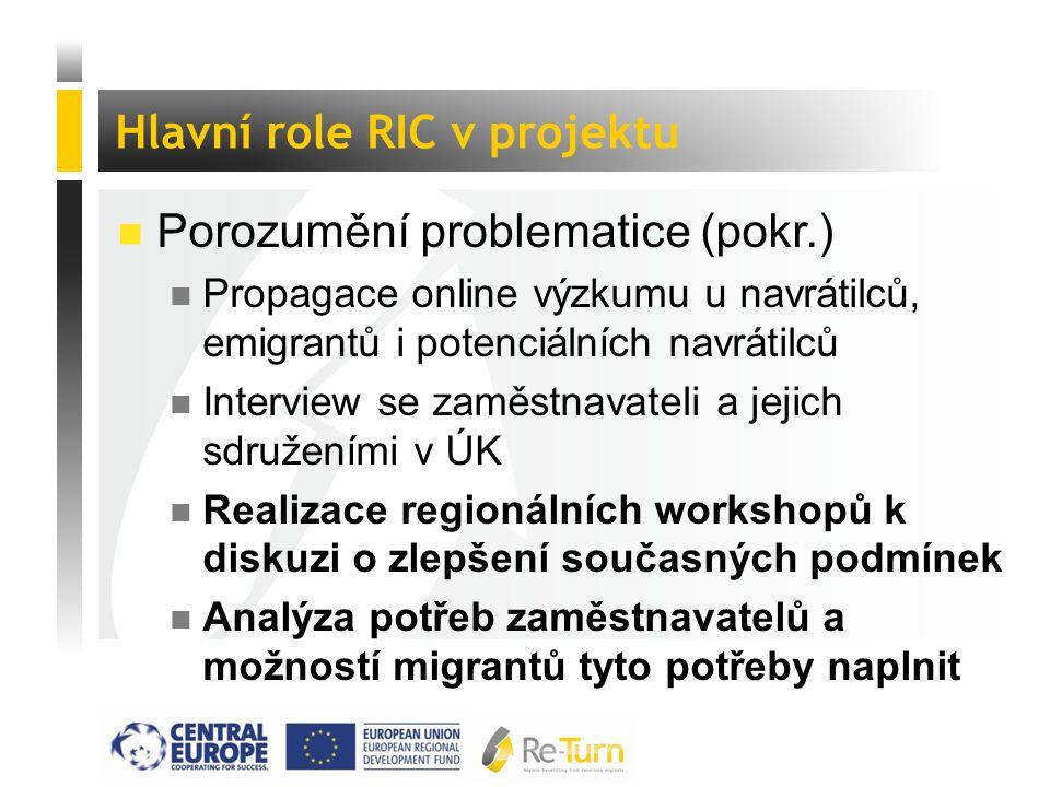 """ Tvorba nových nástrojů pro podporu migrantů n Příprava nových metod a nástrojů pro podporu regionálního rozvoje prostřednictvím podpory migrantů n Pilotáž nově vytvořených programů na vzorku migrantů n Identifikace """"best practice v oblasti nástrojů používaných na podporu migrantů Hlavní role RIC v projektu"""