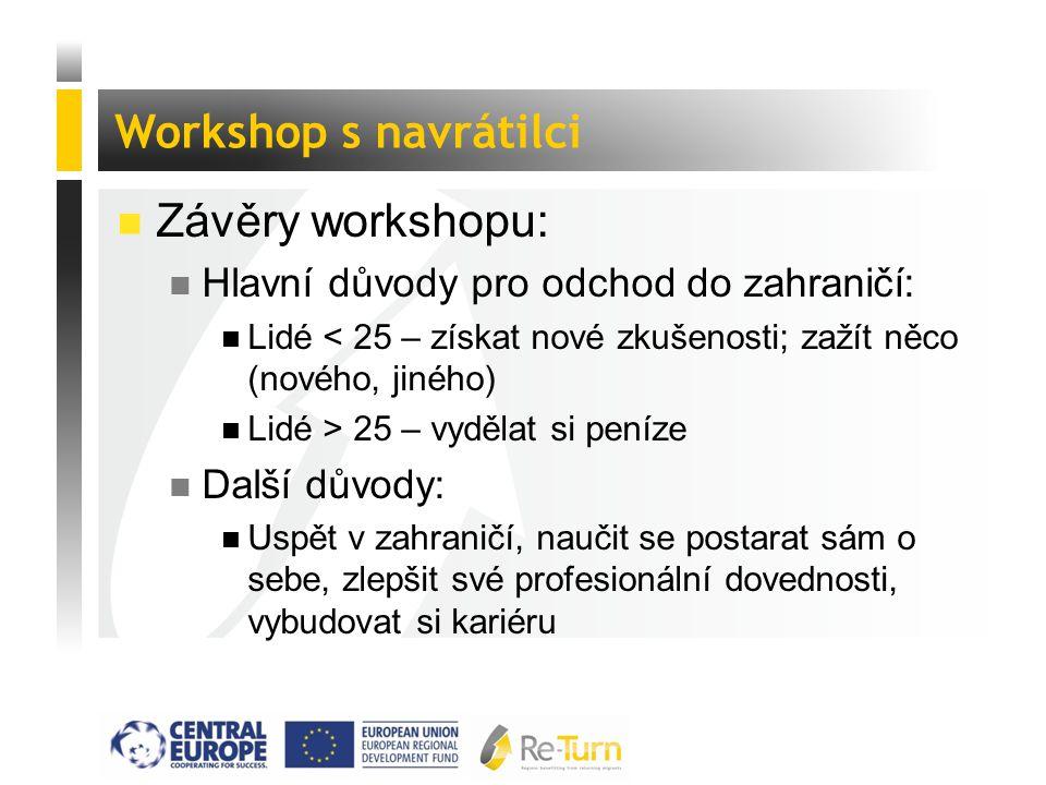  Závěry workshopu: n Hlavní důvody pro odchod do zahraničí: n Lidé < 25 – získat nové zkušenosti; zažít něco (nového, jiného) n Lidé > 25 – vydělat s