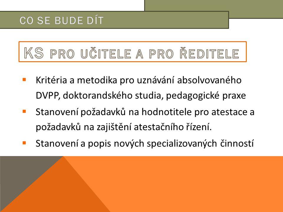  Kritéria a metodika pro uznávání absolvovaného DVPP, doktorandského studia, pedagogické praxe  Stanovení požadavků na hodnotitele pro atestace a požadavků na zajištění atestačního řízení.
