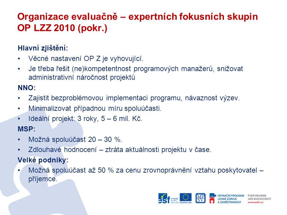 Organizace evaluačně – expertních fokusních skupin OP LZZ 2010 (pokr.) Hlavní zjištění: •Věcné nastavení OP Z je vyhovující. •Je třeba řešit (ne)kompe