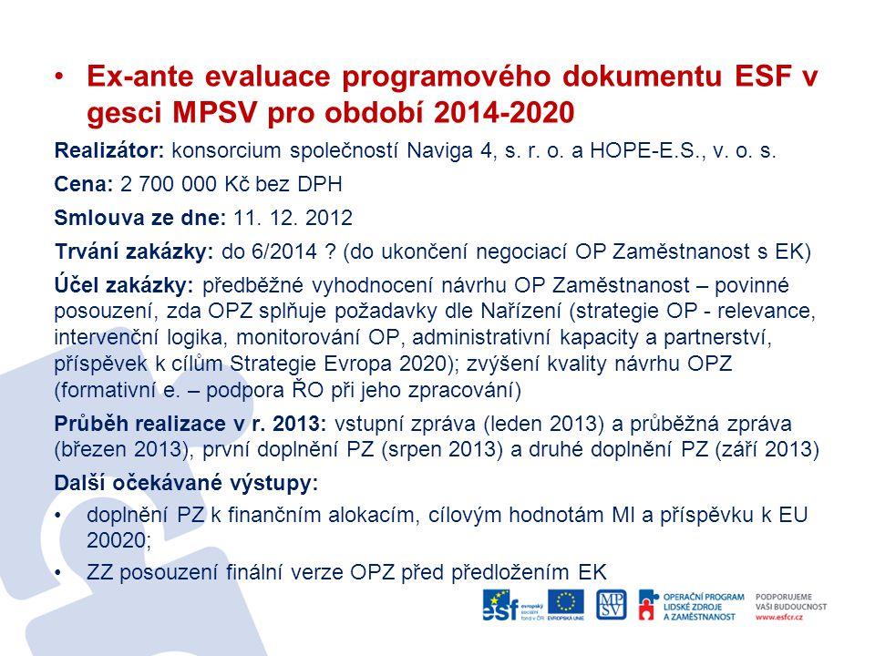 •Ex-ante evaluace programového dokumentu ESF v gesci MPSV pro období 2014-2020 Realizátor: konsorcium společností Naviga 4, s. r. o. a HOPE-E.S., v. o