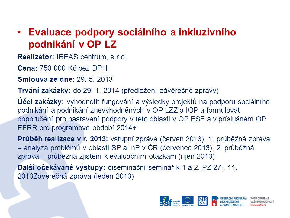 •Evaluace podpory sociálního a inkluzivního podnikání v OP LZ Realizátor: IREAS centrum, s.r.o. Cena: 750 000 Kč bez DPH Smlouva ze dne: 29. 5. 2013 T