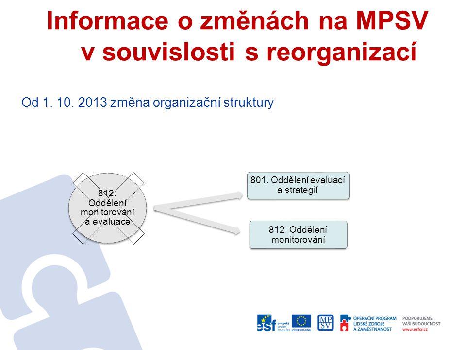 Informace o změnách na MPSV v souvislosti s reorganizací Od 1. 10. 2013 změna organizační struktury 812. Oddělení monitorování a evaluace 801. Oddělen