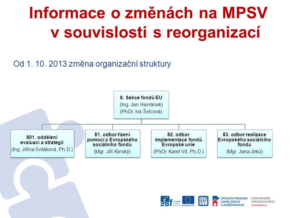 Informace o změnách na MPSV v souvislosti s reorganizací Od 1. 10. 2013 změna organizační struktury 8. Sekce fondů EU (Ing. Jan Havránek) (PhDr. Iva Š