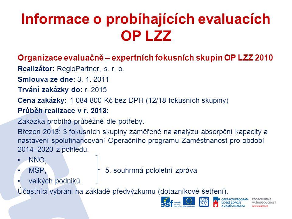 Informace o probíhajících evaluacích OP LZZ Organizace evaluačně – expertních fokusních skupin OP LZZ 2010 Realizátor: RegioPartner, s. r. o. Smlouva