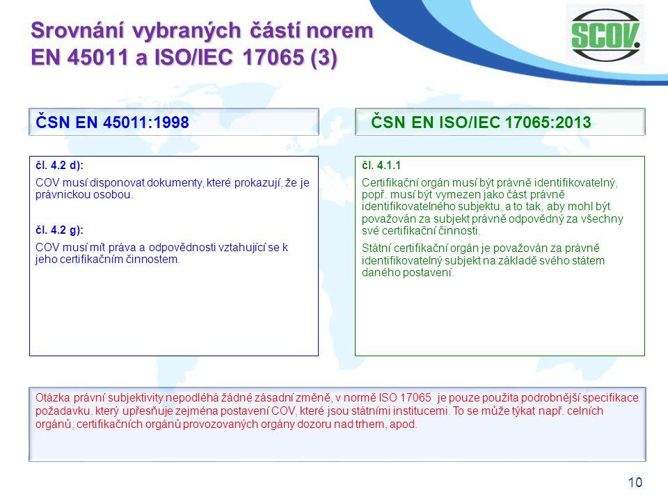 10 Srovnání vybraných částí norem EN 45011 a ISO/IEC 17065 (3) čl. 4.1.1 Certifikační orgán musí být právně identifikovatelný, popř. musí být vymezen