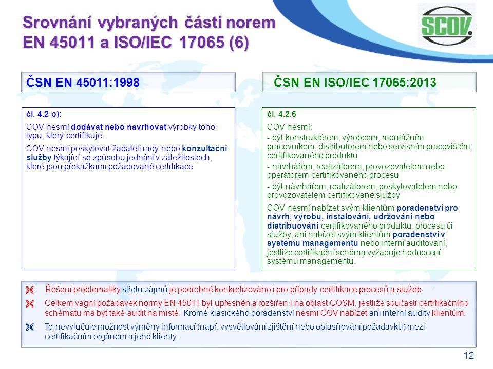 12 Srovnání vybraných částí norem EN 45011 a ISO/IEC 17065 (6) čl. 4.2.6 COV nesmí: - být konstruktérem, výrobcem, montážním pracovníkem, distributore