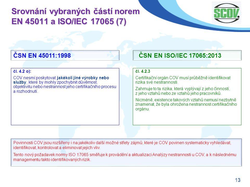 13 Srovnání vybraných částí norem EN 45011 a ISO/IEC 17065 (7) čl. 4.2.3 Certifikační orgán COV musí průběžně identifikovat rizika své nestrannosti. Z