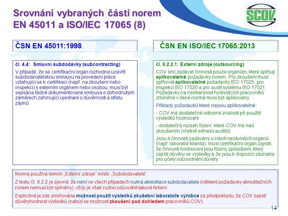 14 Srovnání vybraných částí norem EN 45011 a ISO/IEC 17065 (8) čl. 6.2.2.1: Externí zdroje (outsourcing) COV smí zadávat činnosti pouze orgánům, které