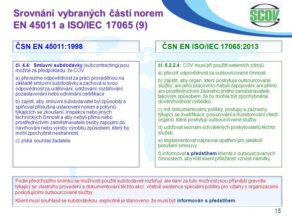 15 Srovnání vybraných částí norem EN 45011 a ISO/IEC 17065 (9) čl. 6.2.2.4: COV musí při použití externích zdrojů: a) převzít odpovědnost za outsourco
