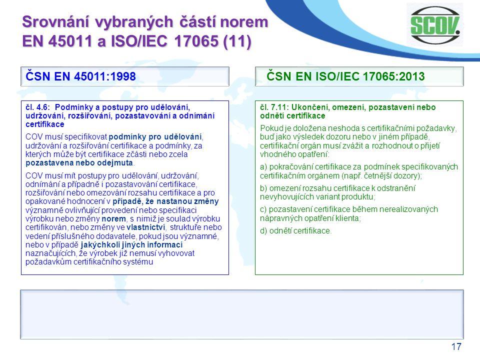 17 Srovnání vybraných částí norem EN 45011 a ISO/IEC 17065 (11) čl. 7.11: Ukončení, omezení, pozastavení nebo odnětí certifikace Pokud je doložena nes