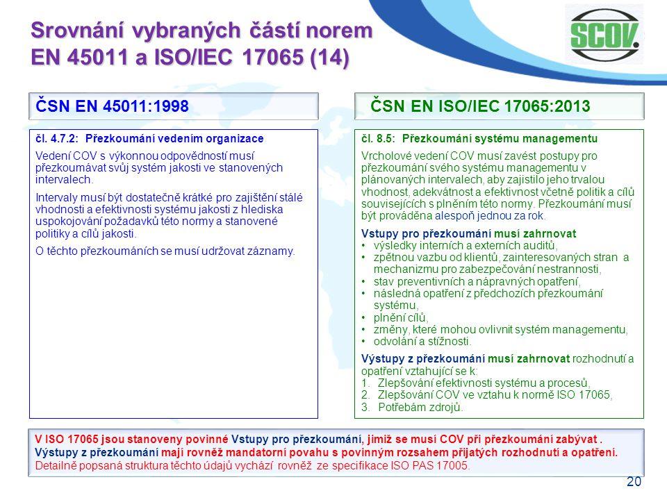 20 Srovnání vybraných částí norem EN 45011 a ISO/IEC 17065 (14) čl. 8.5: Přezkoumání systému managementu Vrcholové vedení COV musí zavést postupy pro