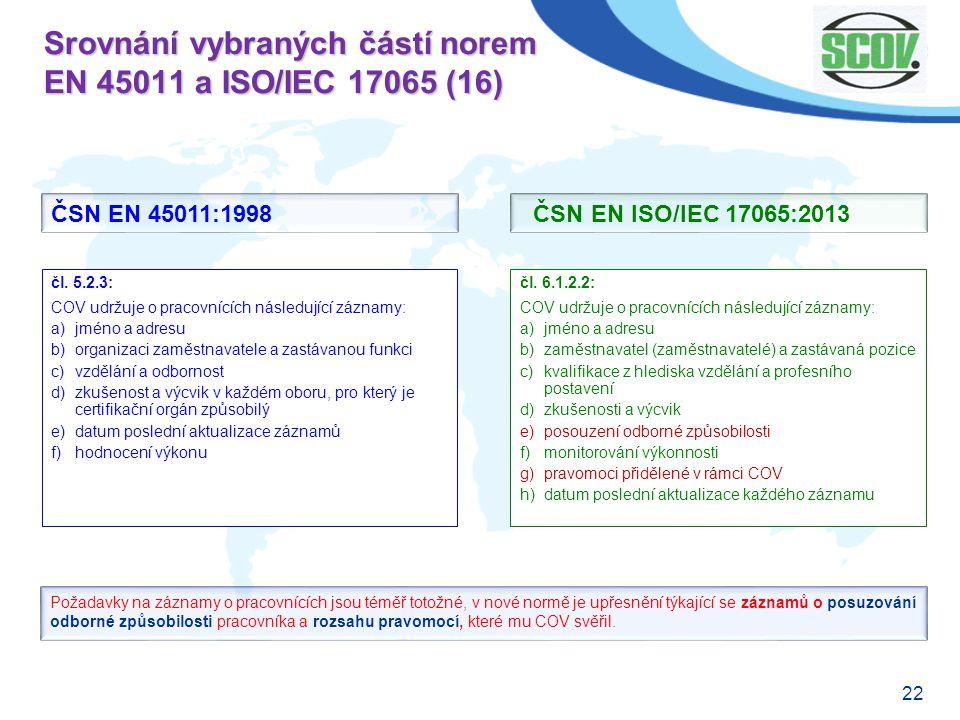 22 Srovnání vybraných částí norem EN 45011 a ISO/IEC 17065 (16) čl. 6.1.2.2: COV udržuje o pracovnících následující záznamy: a)jméno a adresu b)zaměst