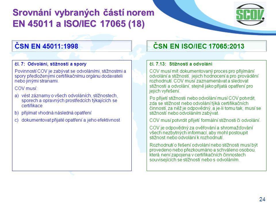 24 Srovnání vybraných částí norem EN 45011 a ISO/IEC 17065 (18) čl. 7.13: Stížnosti a odvolání COV musí mít dokumentovaný proces pro přijímání odvolán