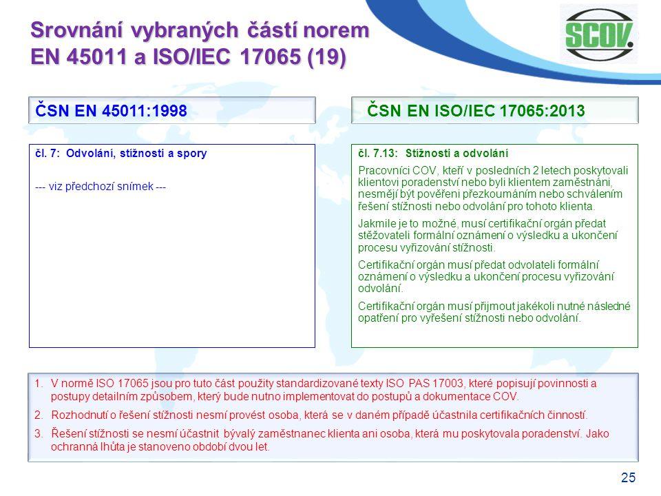 25 Srovnání vybraných částí norem EN 45011 a ISO/IEC 17065 (19) čl. 7.13: Stížnosti a odvolání Pracovníci COV, kteří v posledních 2 letech poskytovali