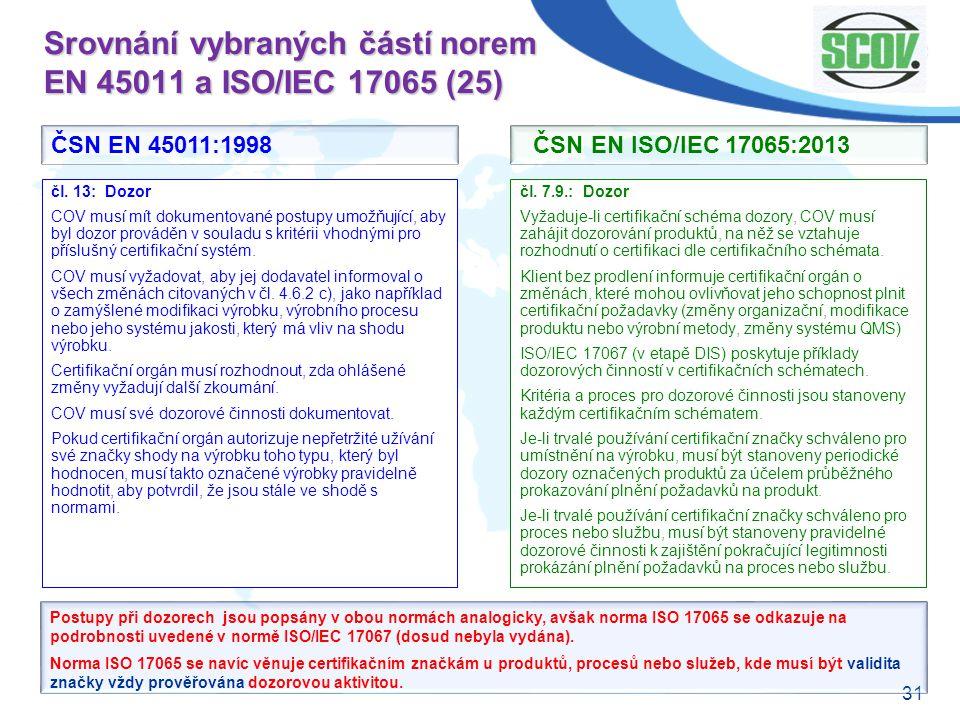 31 Srovnání vybraných částí norem EN 45011 a ISO/IEC 17065 (25) čl. 7.9.: Dozor Vyžaduje-li certifikační schéma dozory, COV musí zahájit dozorování pr