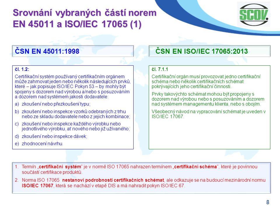 8 Srovnání vybraných částí norem EN 45011 a ISO/IEC 17065 (1) čl. 7.1.1 Certifikační orgán musí provozovat jedno certifikační schéma nebo několik cert