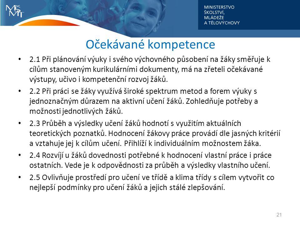 Očekávané kompetence • 2.1 Při plánování výuky i svého výchovného působení na žáky směřuje k cílům stanoveným kurikulárními dokumenty, má na zřeteli o
