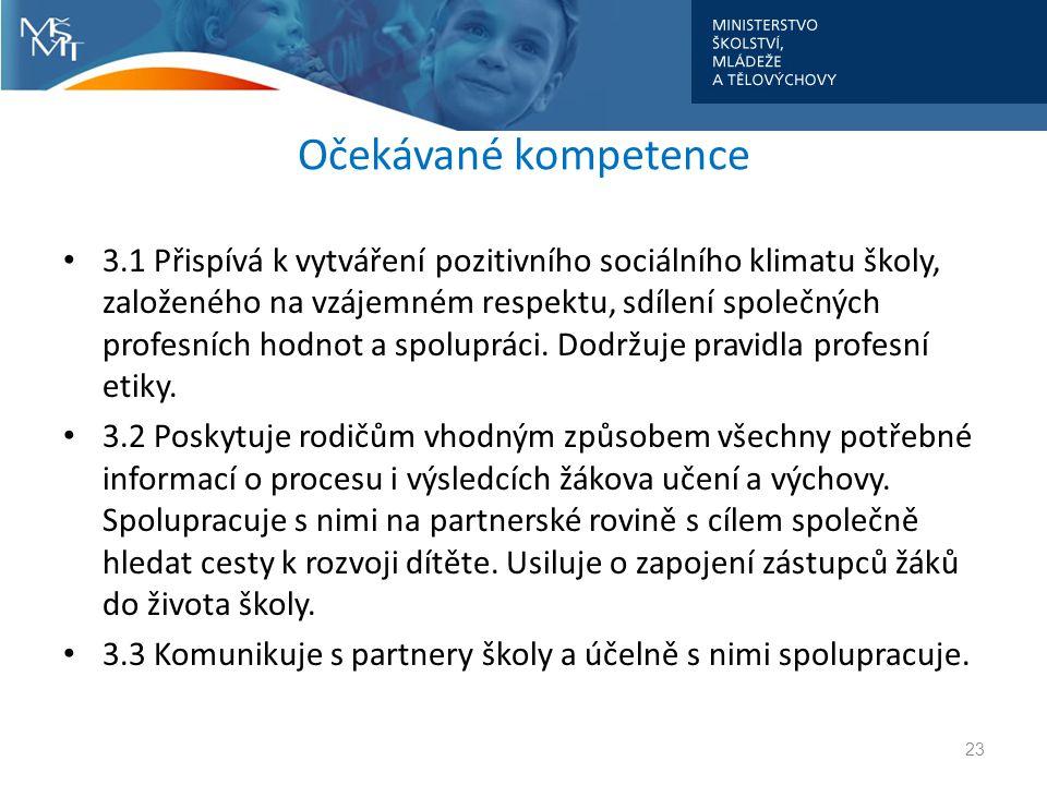 Očekávané kompetence • 3.1 Přispívá k vytváření pozitivního sociálního klimatu školy, založeného na vzájemném respektu, sdílení společných profesních