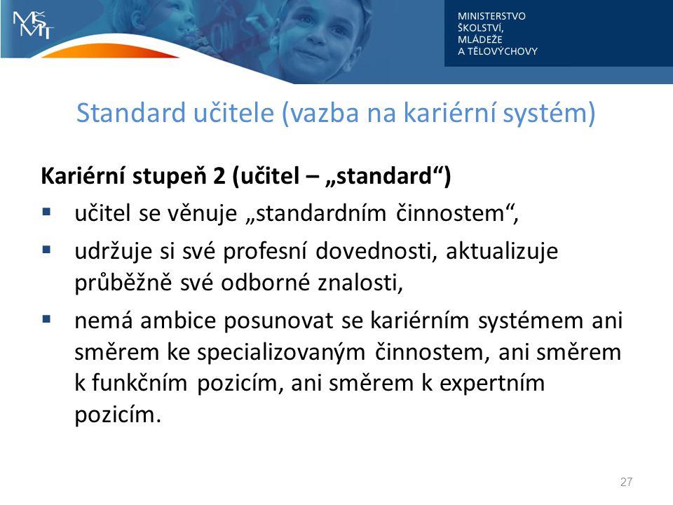 """Standard učitele (vazba na kariérní systém) Kariérní stupeň 2 (učitel – """"standard"""")  učitel se věnuje """"standardním činnostem"""",  udržuje si své profe"""