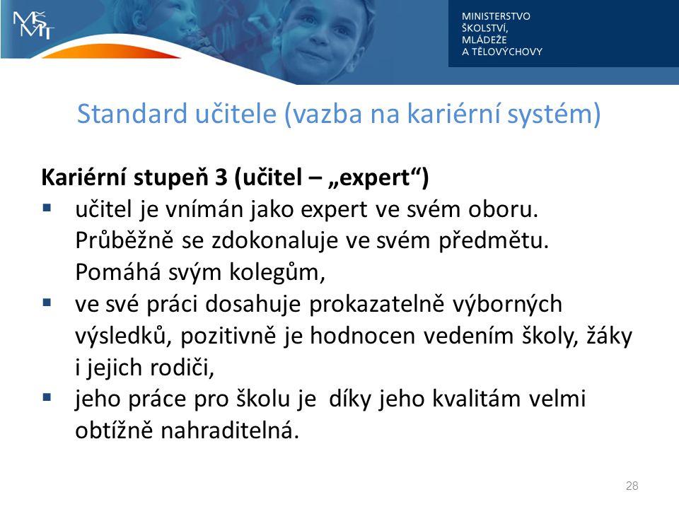 """Standard učitele (vazba na kariérní systém) Kariérní stupeň 3 (učitel – """"expert"""")  učitel je vnímán jako expert ve svém oboru. Průběžně se zdokonaluj"""
