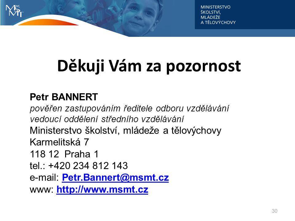 Děkuji Vám za pozornost 30 Petr BANNERT pověřen zastupováním ředitele odboru vzdělávání vedoucí oddělení středního vzdělávání Ministerstvo školství, m