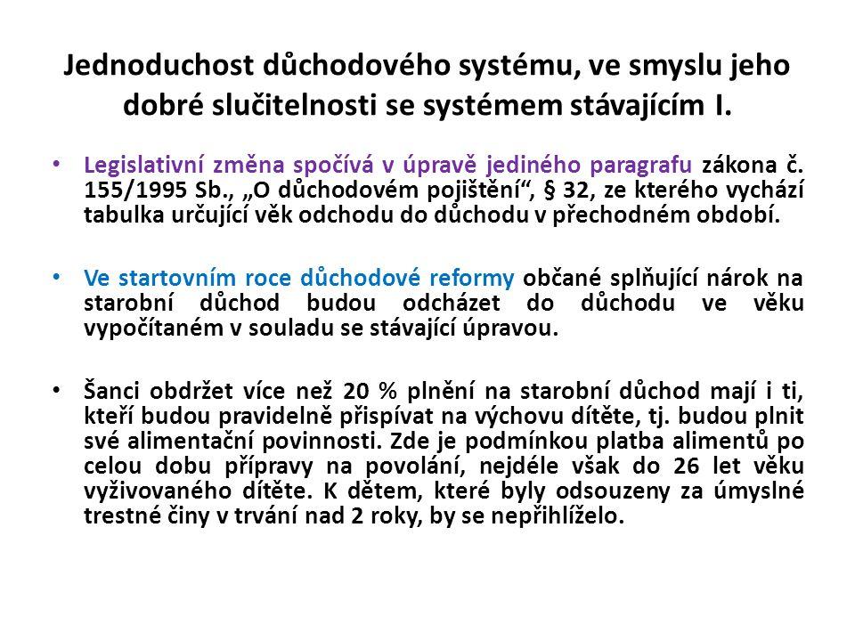 Jednoduchost důchodového systému, ve smyslu jeho dobré slučitelnosti se systémem stávajícím I. • Legislativní změna spočívá v úpravě jediného paragraf