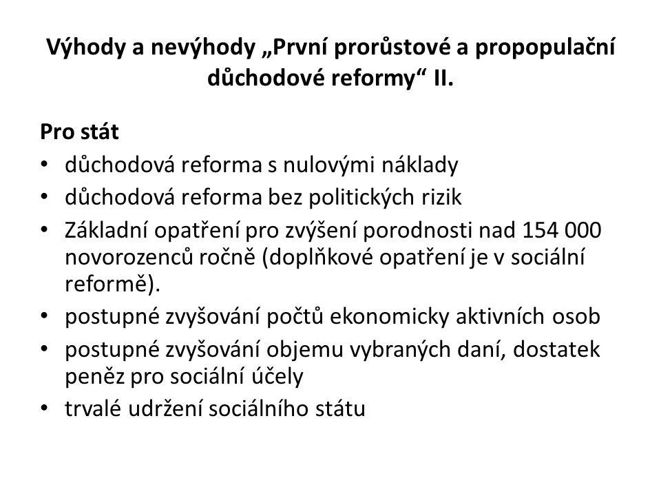 """Výhody a nevýhody """"První prorůstové a propopulační důchodové reformy"""" II. Pro stát • důchodová reforma s nulovými náklady • důchodová reforma bez poli"""