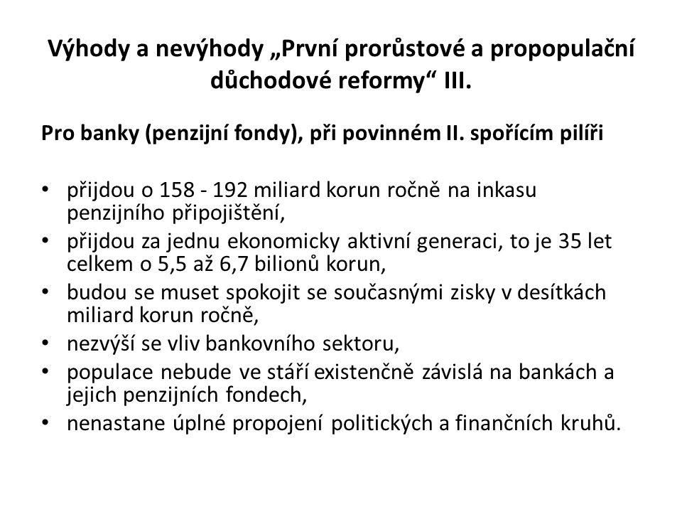 """Výhody a nevýhody """"První prorůstové a propopulační důchodové reformy"""" III. Pro banky (penzijní fondy), při povinném II. spořícím pilíři • přijdou o 15"""