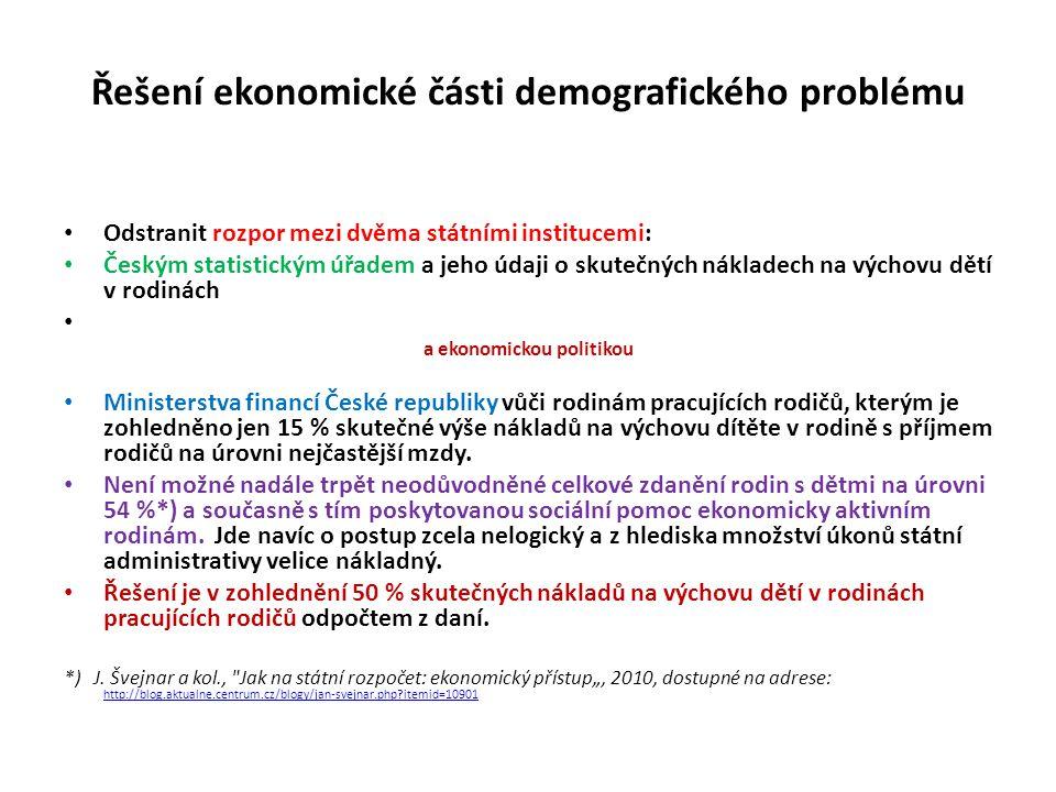 Řešení ekonomické části demografického problému • Odstranit rozpor mezi dvěma státními institucemi: • Českým statistickým úřadem a jeho údaji o skuteč