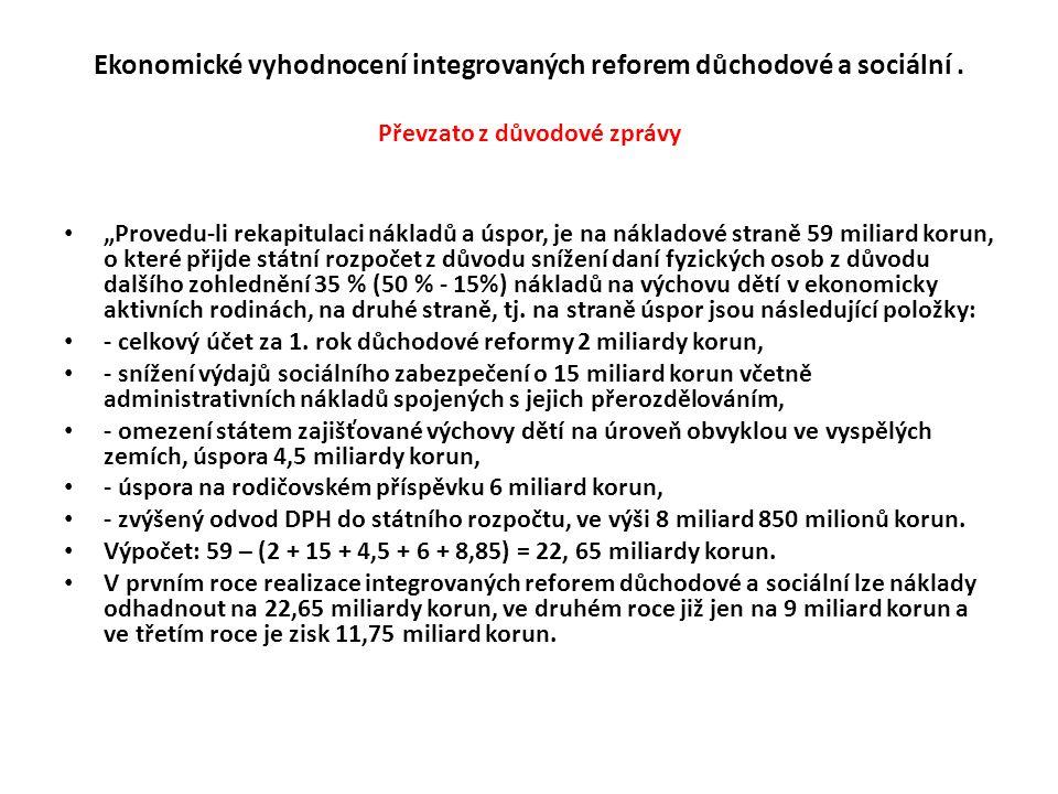 """Ekonomické vyhodnocení integrovaných reforem důchodové a sociální. Převzato z důvodové zprávy • """"Provedu-li rekapitulaci nákladů a úspor, je na náklad"""