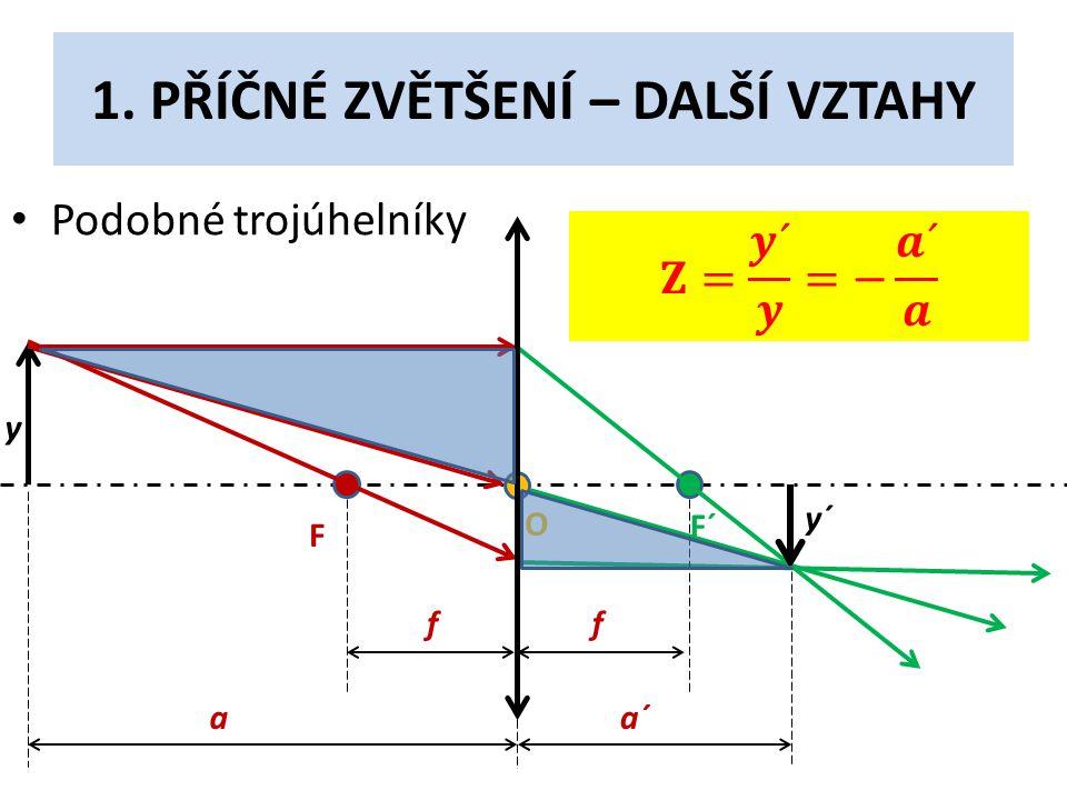 1. PŘÍČNÉ ZVĚTŠENÍ – DALŠÍ VZTAHY • Podobné trojúhelníky F F´ O y y´ f f aa´