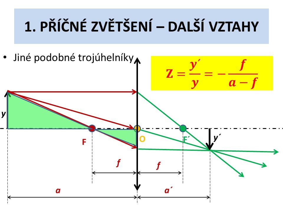 1. PŘÍČNÉ ZVĚTŠENÍ – DALŠÍ VZTAHY • Jiné podobné trojúhelníky F F´ O y y´ f f aa´