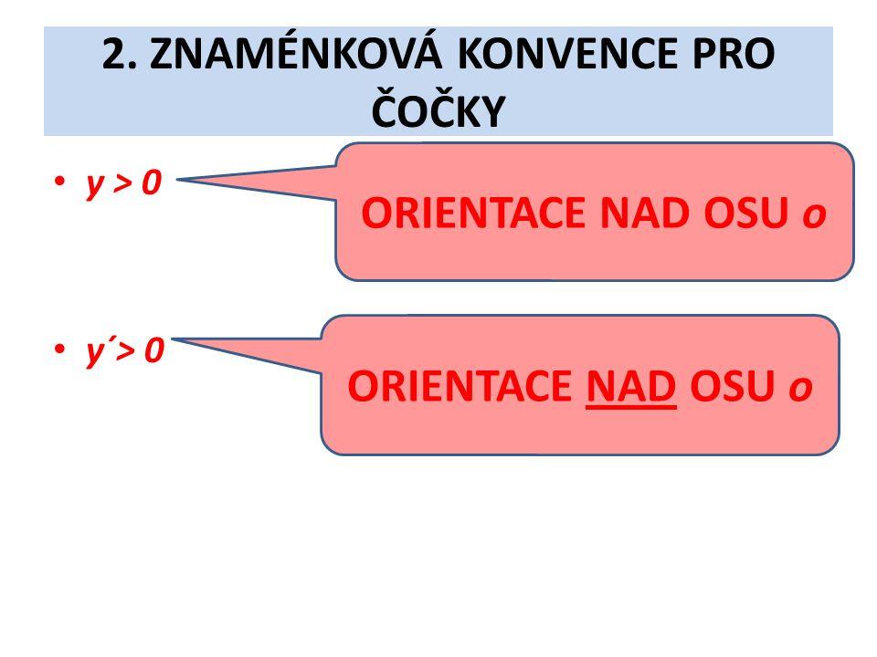2. ZNAMÉNKOVÁ KONVENCE PRO ČOČKY • y > 0 • y´> 0 ORIENTACE NAD OSU o