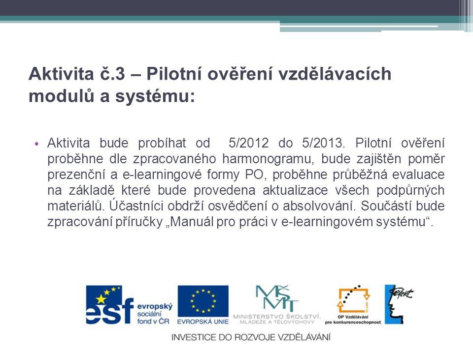 Aktivita č.3 – Pilotní ověření vzdělávacích modulů a systému: • Aktivita bude probíhat od 5/2012 do 5/2013.