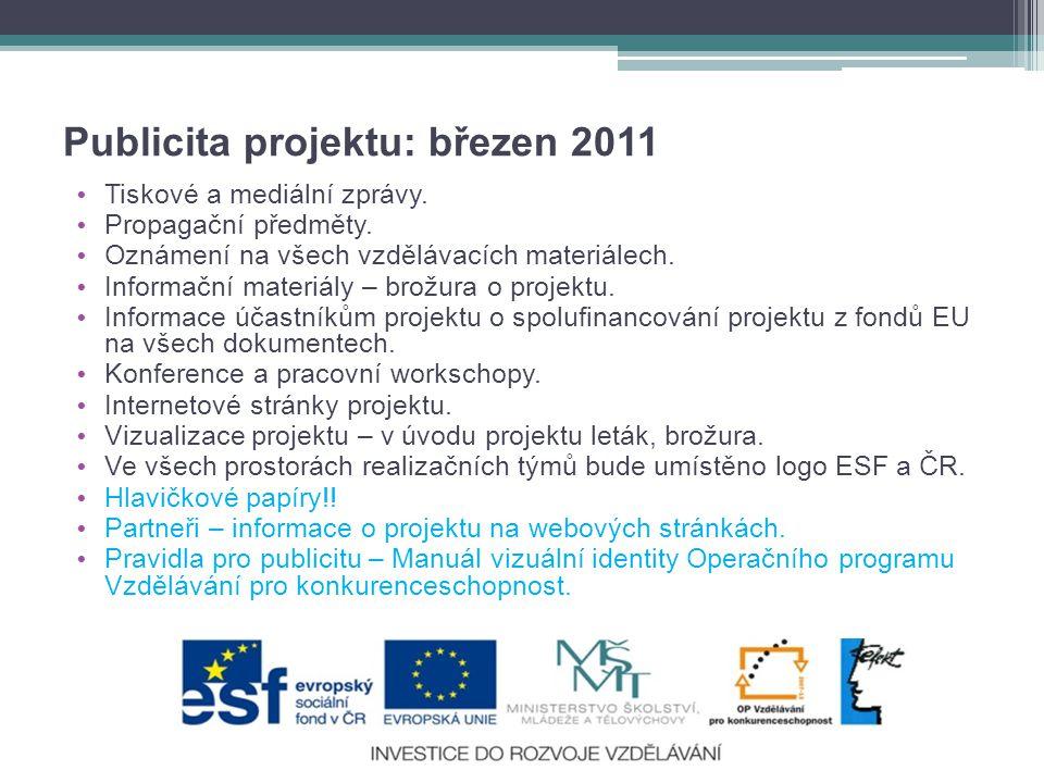 Publicita projektu: březen 2011 • Tiskové a mediální zprávy.