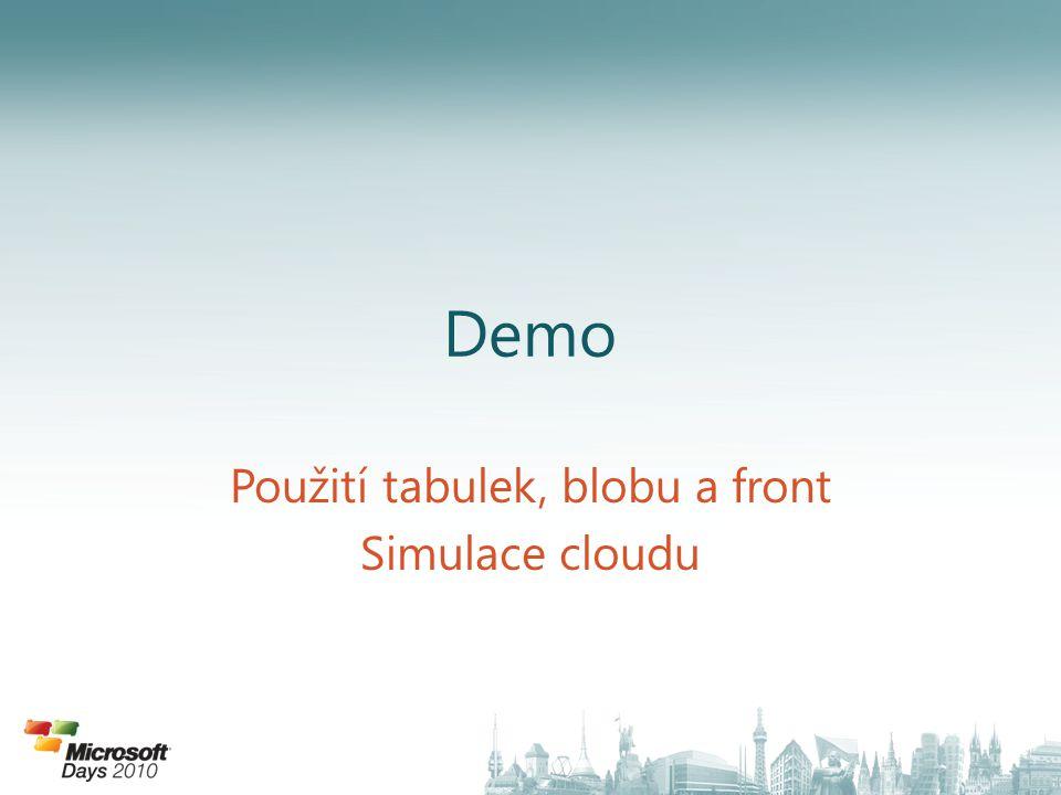 Demo Použití tabulek, blobu a front Simulace cloudu