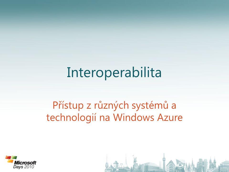 Interoperabilita Přístup z různých systémů a technologií na Windows Azure