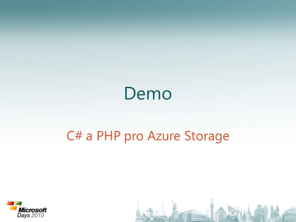 Demo C# a PHP pro Azure Storage